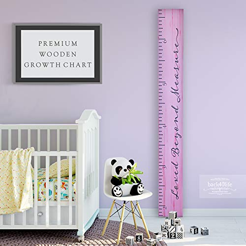 Back40Life - Premium Series - (Loved Beyond Measure) Wooden Growth Chart Height Ruler (Pink + Dk Gray)