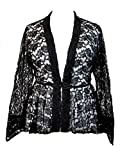 Dark Star Plus Size Black Lace Gothic Duster Jacket with Frog Fastening L-3X