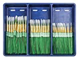 Royal Brush Big Kids Choice Round Brushes with Aprons, Assorted Size, Pack of 72 Brushes and 12 Aprons
