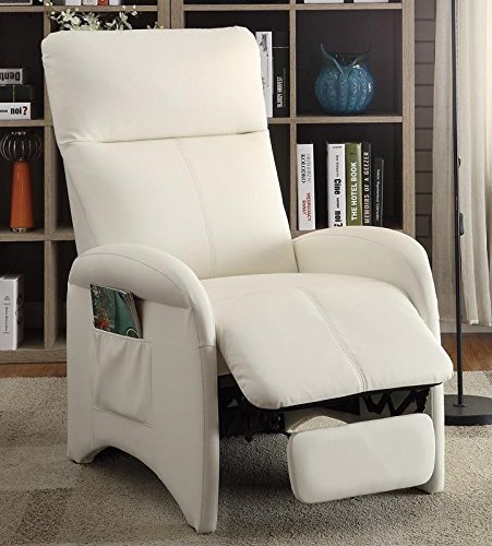 Carola White Faux Leather Recliner by Poundex