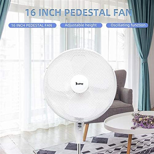 Apelila Portable 16 Inch Pedestal Fan with Adjustable Tilt Angle and Height