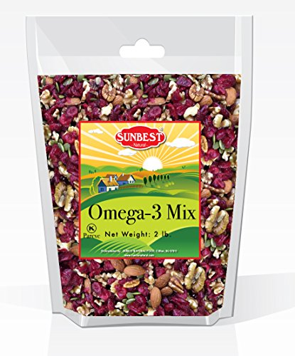 SunBest Trail Mix Nuts Seeds and Fruits (UNSALTED, RAW Pecans, Walnuts Halves and Pieces, Almonds, Pumpkin Seeds/Pepitas, and Cranberries) (Omega 3, 2 Lb)