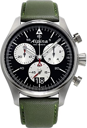 Alpina-Startimer-Pilot-Military-Green-Big-Date-Black-Dial-Green-Barenia-Calfskin-Leather-Mens-Quartz-Watch-AL-372BS4S6