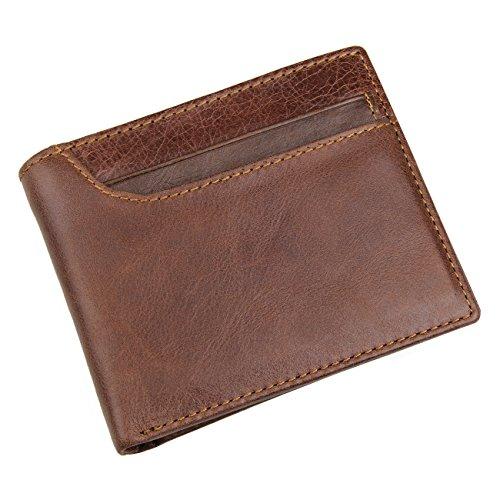 Horiya Men's RFID Blocking Vintage Italian Genuine Leather Slim Bifold Wallet Handmade(Light Brown)