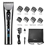 WONER Hair Clippers for Men Professional Cordless Rechargeable Hair Trimmers Hair Cutting Kit Titanium Ceramic Blade LED Display 2000mAh Lithium Ion with 8 Guide Comb