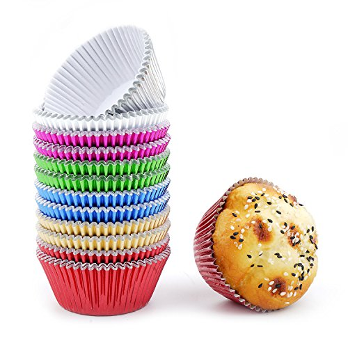 Bakuwe Rainbow Standard Foil Cupcake Liners Muffin Baking Cups Pack of 300, Each Color 50