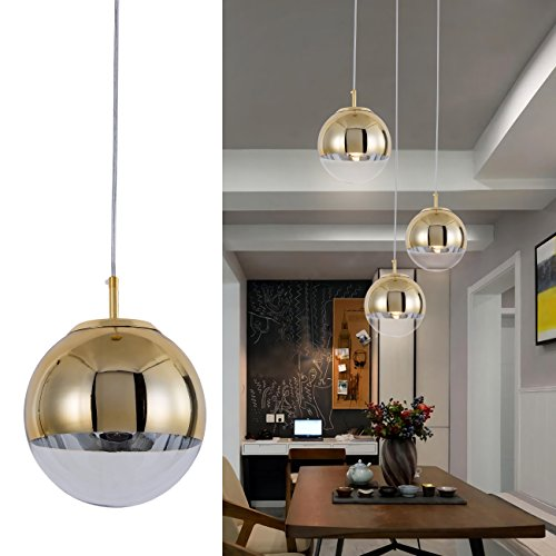 Mzithern Modern Mini Globe Pendant Lighting with Handblown Clear Glass, Adjustable Mirror Ball Pendant Lamp for Dinning Room Kitchen Island Hallways Bar Cafe, Polished Golden and Painting Finish, 10in - Lamp Kitchen Island