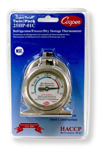 Cooper-Atkins 25HP-01C-2 Bi-Metal Refrigerator/Freezer Thermometer with HACCP Guideline, NSF Certified, -29/27°C Temperature Range (Pack of 2)