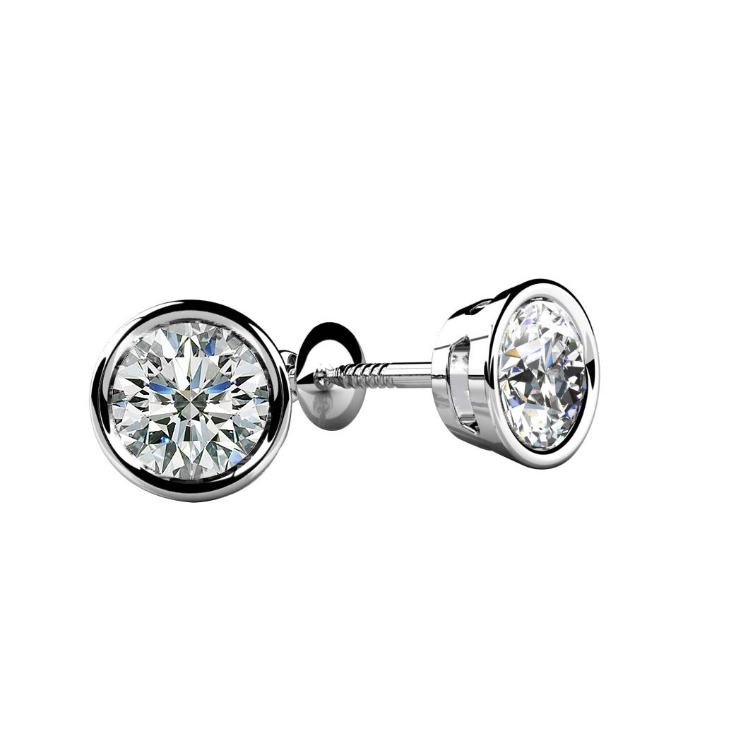 Ringjewels 0.24 Carat Round Cut D//VVS1 Diamond Bezel Set Solitaire Stud Earring 14K Gold Plated Sterling