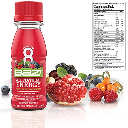 Bazi All Natural Energy Drink 12 Pack - 2.5 oz Liquid Energy Shots Extra Strength - Best Healthy Source of B12 Vitamin Antioxidants and 8 Superfruits (144 Pack) by Bazi (Image #4)