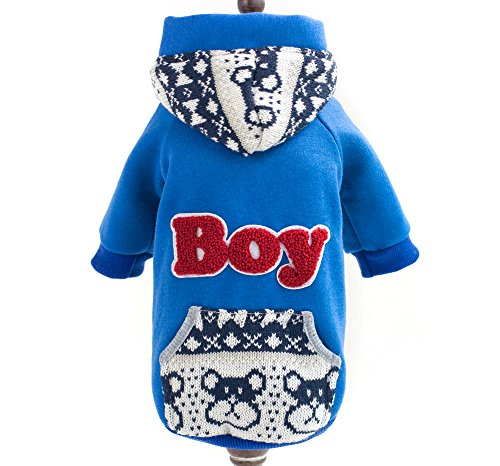 SELMAI Small Dog Sweatshirt for Boy Male Fleece Lined Hooded Kangaroo Pocket Dog Coat Shirt Embroidered Winter Warm Cat Puppy Doggie Yorkie Sweaters Outfits Clothes Apparel Blue S