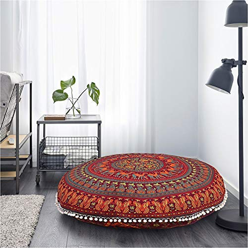 (Gokul Handloom Large Round Pillow Cover Decorative Mandala Pillow Sham Camel and Peacock Designs Indian Bohemian Ottoman Poufs Cover Pom Pom Pillow Cases Outdoor Cushion Cover)