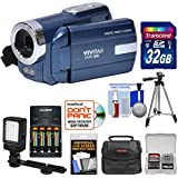 Vivitar DVR-508 HD Digital Video Camera Camcorder (Blue) with 32GB Card + Batteries & Charger + Case + LED Video Light + Tripod + Kit