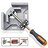 BonyTek 90 Degree Aluminum Alloy Corner Clamp Right Angle Clamp, Adjustable Swing Jaw Corner Clamp Vise Tool Jig for Woodworking, Welding, Wooden Photo Frames - Single Handle