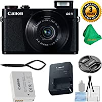 Canon PowerShot G9 X Digital Camera with 3x Optical Zoom, Built-in Wi-Fi and 3 inch LCD (Black) + 3 Year USA CPA Warranty + 5pc Starter Set + Microfiber Cloth - International Version