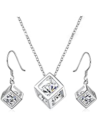 Happy Gogou 925 Silver Jewelry Sets with Square Pendant Necklace & Dangle Drop Earrings