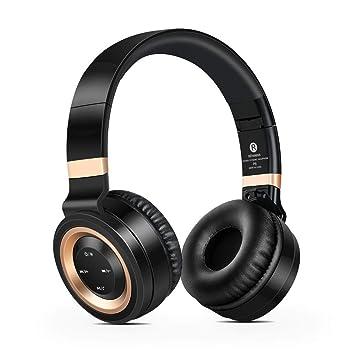 KCJMM Auriculares Bluetooth inalámbricos, Auriculares Pesados, Auriculares con Juego Plegable, Bajos, micrófono