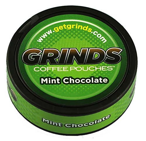 Grinds Coffee Pouches - 6 Cans - Mint Chocolate - Tobacco Free, Nicotine Free Healthy Alternative - Mint Chocolate Pouch