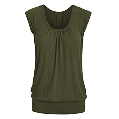 Blouse for Womens, FORUU Summer Casual Round Neck Solid Short Sleeve T-Shirt Top