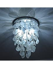 INJUICY Lighting Nordic E27 Led Shell Pendant Lamp Crystal Metal Ceiling Light Fixture Chandelier Hanging Light for Dining Room Cafe Bar Bedroom Wedding Home Decor
