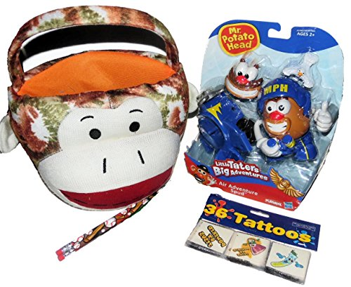 Brown Sock Monkey Plush Easter Basket Filled with Little Mr. Potato Head Toy, 36 Tattoos and Pencils