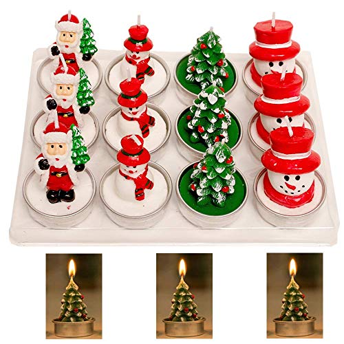 Falytemow Tealight Candles Handmade Delicate Santas Snowman Christmas Tree Candles for Christmas Party Home Decoration Gifts Pack of 12 (Tree Tea Christmas)