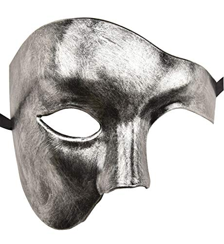 KEFAN Mens Mask Masquerade Mask Phantom of The Opera Half Face Mask (Silver Black) -