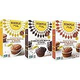 Simple Mills Almond Flour Mix Variety Pack: (1) Banana Muffin & Bread, (1) Chocolate Muffin & Cake, (1) Pumpkin Muffin & Bread, Naturally Gluten Free