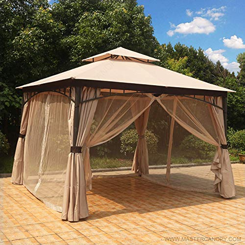 (MASTERCANOPY Patio Gazebo 11.5×11.5 Round Post Gazebo Canopy Iron Shelter with Mosquito Netting and Privacy Wall,Soft Top Gazebo (New Beige))