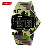 Men's or boys's camouflage aircraft military style wristwatch,Unique colorful led luminous american fighters waterproof electronic sports jelly vintage watch for kids or couples -B