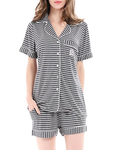 NORA TWIPS Pajamas Women's Striped Short Sleeve Sleepwear Soft PJ Set Short (Gray Striped,XS)