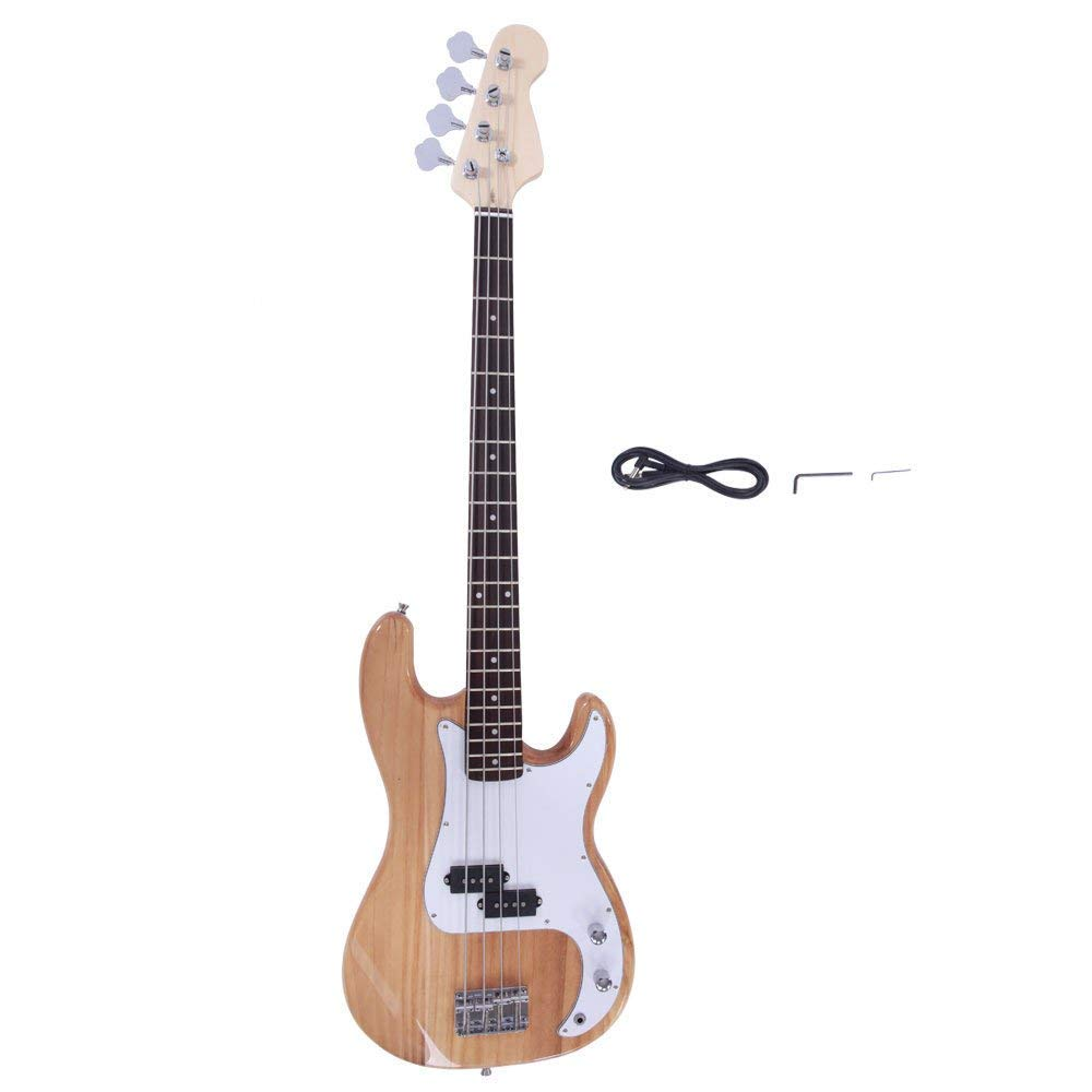 Yoshioe Electric Bass Guitar Full Size 4 String Rosewood Basswood Fire Style Exquisite Burning Bass Burly Wood