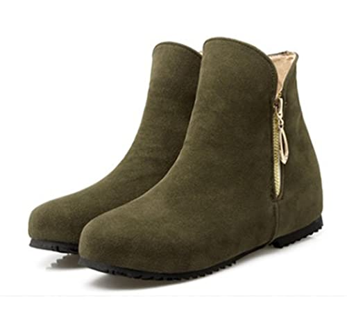 SHOWHOW Damen Retro Nubuk Unsichtbare Erhöhung Kurzschaft Stiefel Grün 40 EU HfncObSX