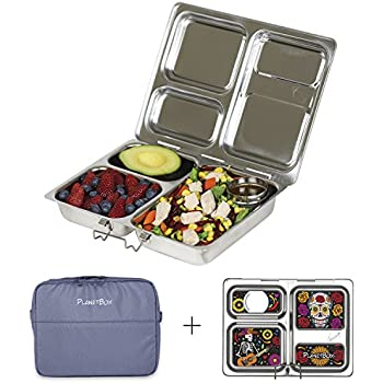 PlanetBox LAUNCH Eco-Friendly Stainless Steel Bento Lunch Box with 3 Compartments for Adults and Kids (Grey Sleeve with Skeletons Magnets)
