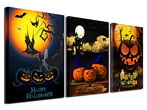 Gardenia Art - Happy Halloween Canvas Prints 3 Pumpkin Lantern Wall Art Paintings Abstract Wall Artworks Pictures for Living Room Bedroom Decoration, 16X12 inch, 3 Panels -