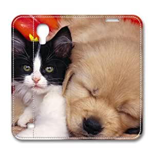 Lovely Dog Animal Custom Leather Cover for Samsung Galaxy S4 By Cases & Mousepads