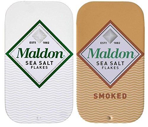 Maldon Salt Travel Tin 2-Pack (One Regular, One Smoked) - 0.35oz each