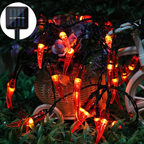 (Dreamworth Solar Red Chili String Lights, 30 LED Chili Shape Fairy String Lights Solar Operated String Lights for Wedding, Chinese New Year,Spring Festival,Party Decoration,Christmas)