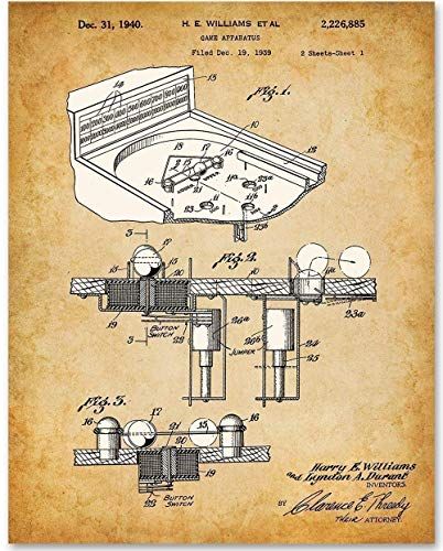 Pinball Machine - 11x14 Unframed Patent Print - Makes a Great Gift Under $15 for Game Room Decor