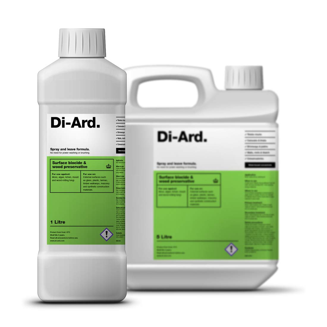 Di-Ard Moss and Algae Killer. Patio Driveway Decking Tennis Court Hard Surface Cleaner (1 litre)