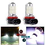 CCIYU 2X High Power H11 H8 H9 LED Fog Headlight High Low Beam DRL Daytime Running Driving 144SMD 6000K Xenon White Light Bulb