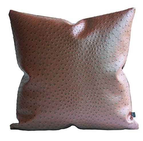 Kdays Thick Ostrich Faux Leather Pillow Cover Brown Decorative For Couch Throw Pillow Case Brown Leather Cushion Cover Solid Color Leather Pillow 16x16 Inches