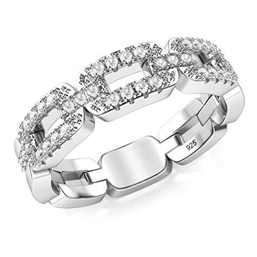 Chain Ring Silver (Sz 7 Sterling Silver Cubic Zirconia Chain Link CZ Band Ring)
