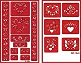 Over 'n' Over Reusable Self-Stick Etching Stencil for Glass (or Stamping) - Bundle of Two Sets - Floral Borders 1 & Floral Heart Shapes