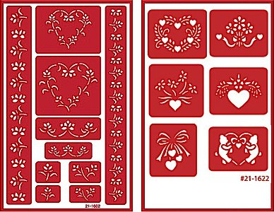 Over 'n' Over Reusable Self-Stick Etching Stencil for Glass (or Stamping) - Bundle of Two Sets - Floral Borders 1 & Floral Heart Shapes by Over n Over