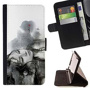 BullDog Case - FOR/Apple Iphone 6 PLUS 5.5 / - / Beautiful Black & White Girl /- Monedero de cuero de la PU Llevar cubierta de la caja con el ID Credit Card Slots Flip funda de cuer