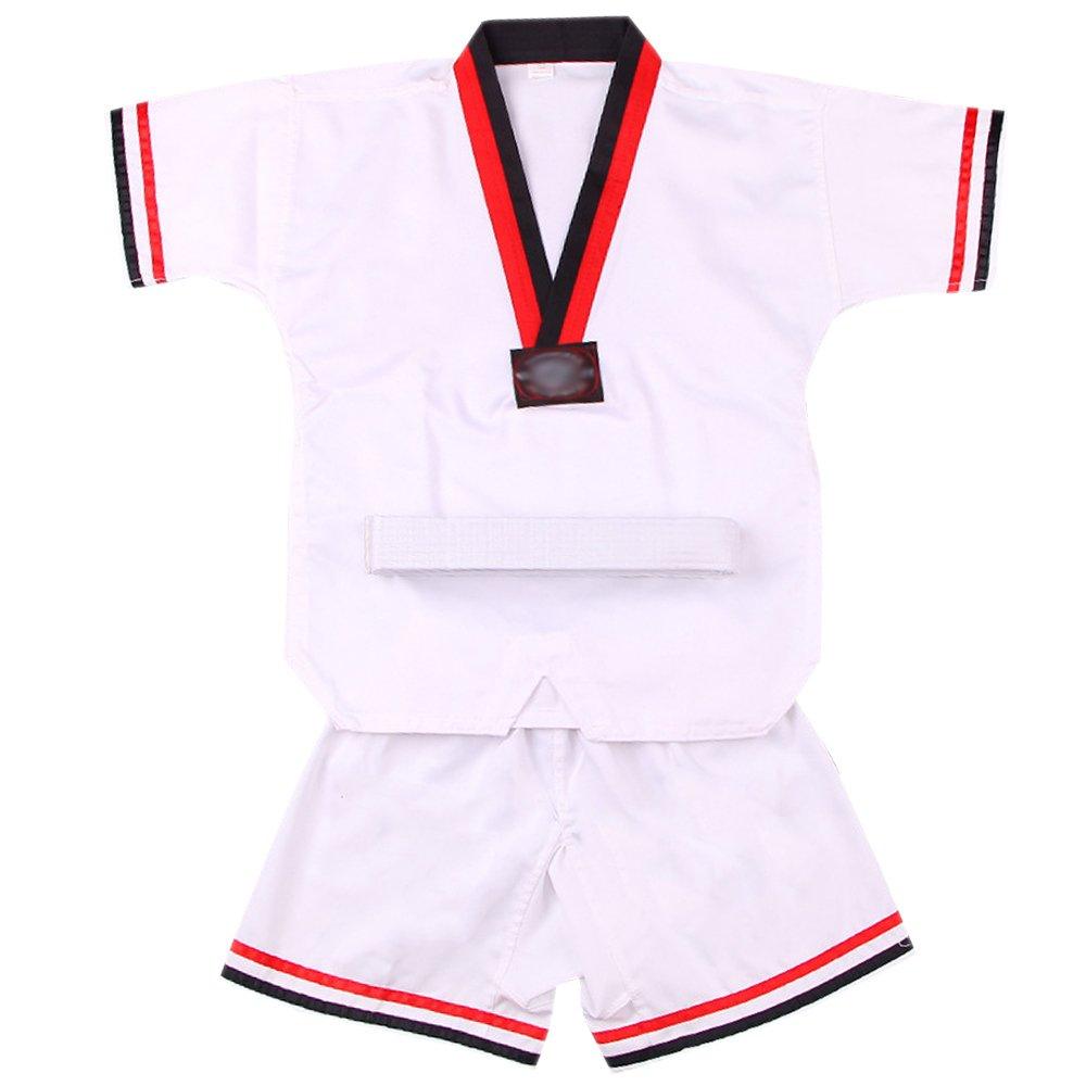 XFentech Unisexo Traje de Taekwondo Artes Marciales Kung Fu Uniformes Ropa De Tai Chi, Blanco