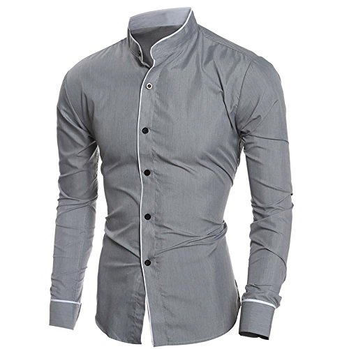 Price comparison product image Mens Shirt, Haoricu 2017 Clearance Men's Fashion Personality Slim Fit Long Sleeved Shirt Top Blouse For Work Casual (L,  Gray 2)