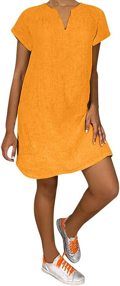 Berimaterry Dia de Miembro Vestidos de Mujer Casual Cortos Verano 2019 Vestido de Playa Vestido de Algodón Lino botón Faldas Cortas Vestido de Bolsillo Vestido Color ...