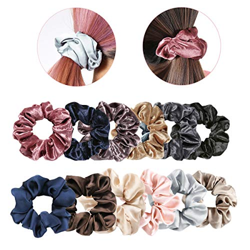 Price comparison product image Velvet Satin Hair Scrunchies Ties - 12 Pack Large Durable Hair Elastics High Elasticity Scrunchy Ties Multicolor Scrunchies for Ponytails,  Top Knots,  Braids and Buns,  Women Hair Accessories 12 Count